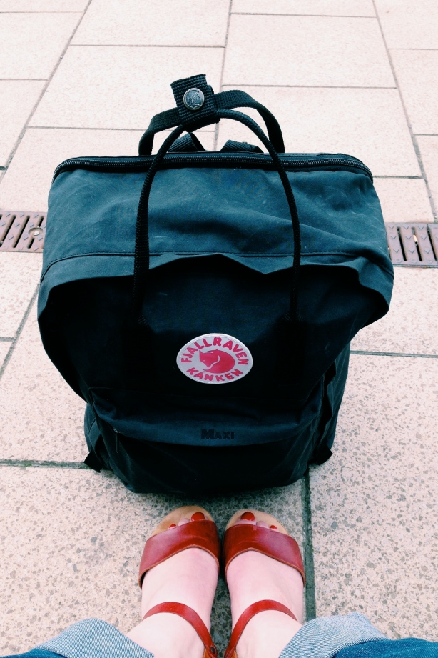 Me with my Fjallraven Kanken Maxi waiting for a train...